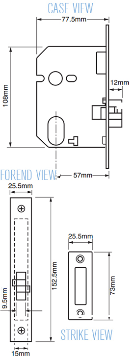 Union L2441 Oval Cylinder Sliding Door Lock