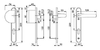 Hoppe Upvc Handles Lever Fixed Pad Handles 92mm Design